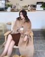 Belted Long Woolen Coat with Sable Fur Trimmed Collar 0057f