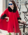Cashmere Cape with Fox Fur Trim 827 Red 1