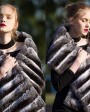 Chinchilla Fur Shawl, Cape Stole 675a_7