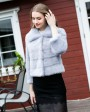 Cropped Mink Fur Jacket 734 Light Blue 1