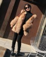 Crystal Fox Fur Coat with Double-Sided Wool Trim 991a