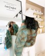 Cropped Fox Fur Jacket fjaf0223A-Turquoise