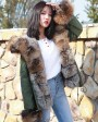 Fox Fur Trimmed Hooded Parka with Detachable Rex Rabbit Fur Liner 114n