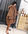 Hooded Cashmere Poncho Coat with Fox Fur Trim 0055e