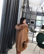 Hooded Cashmere Poncho Coat with Fox Fur Trim 0055f