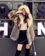 Hooded Fox Fur Knitted Jacket 929c