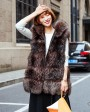 Hooded Silver Fox Fur Vest 693 Coffee 1