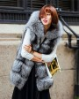 Hooded Silver Fox Fur Vest 693 Silver 2