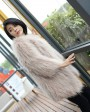 Knitted Raccoon Fur Coat 772 Gray 1
