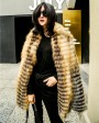 Knitted Red Fox Fur Coat in Golden 0019b