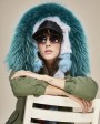 Raccoon Fur Trimmed Hooded Parka with Detachable Fox Fur Liner 116ad
