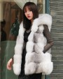 Shadow Blue Frost Fox Fur Hooded Vest 0003g