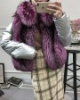 Silver Fox Fur Trimmed Down-filled Cropped Coat Jacket 0023h