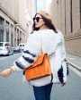 White Fox Fur Jacket with Black Stripes 095c