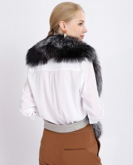 Belted Silver Fox Fur Stole