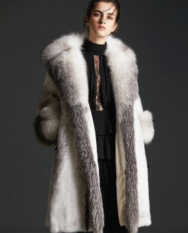 Black Cross Mink Fur Long Coat With Shadow Blue Frost Fox Fur Trim