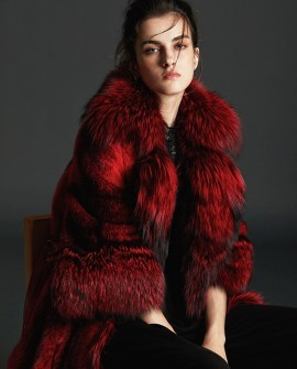 Black Cross Mink Fur Long Coat With Silver Fox Fur Trim in Red