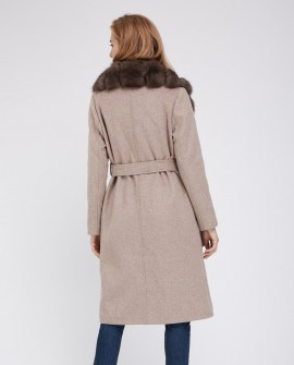 Cashmere Long Coat with Fox Fur Trimmed Collar