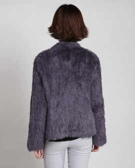 Collarless Knitted Rabbit Fur Coat