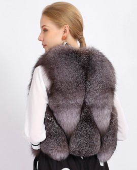 Cropped Silver Blue Fox Fur Vest