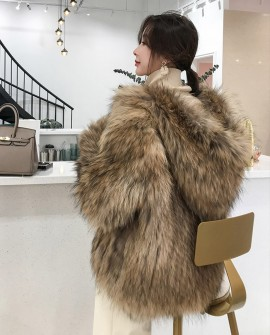 Hooded Knitted Raccoon Fur Jacket
