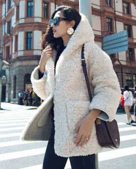 Hooded Merino Shearling Sheep Fur Coat