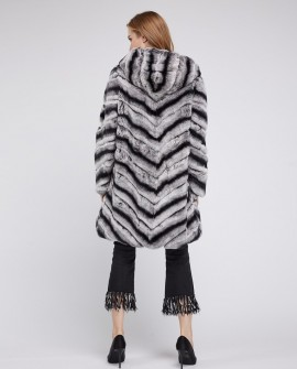 Hooded Rex Rabbit Fur Coat