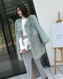 Knitted Raccoon Fur Jacket