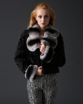 Sheep Fur Cropped Jacket with Rex Rabbit Fur Trim