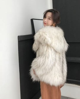 Wide Lapel Knitted Raccoon Fur Jacket