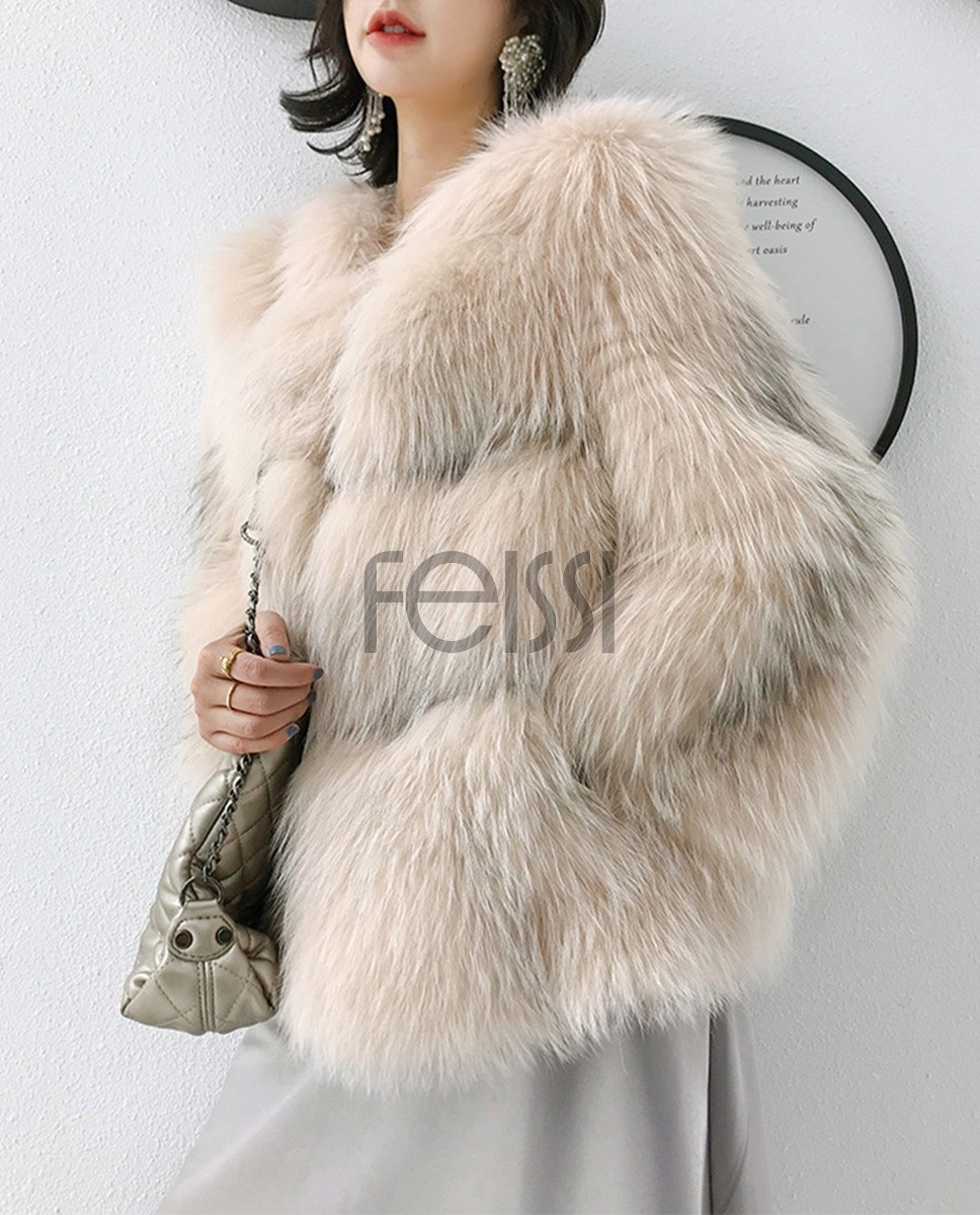 Arctic Marble Fox Fur Jacket 328a