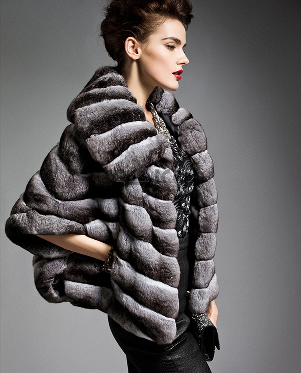 Batwing Chinchilla Fur Jacket 162a