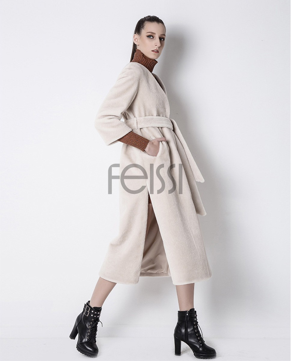 Belt Shearling Sheepskin Coat 803 Beige 1