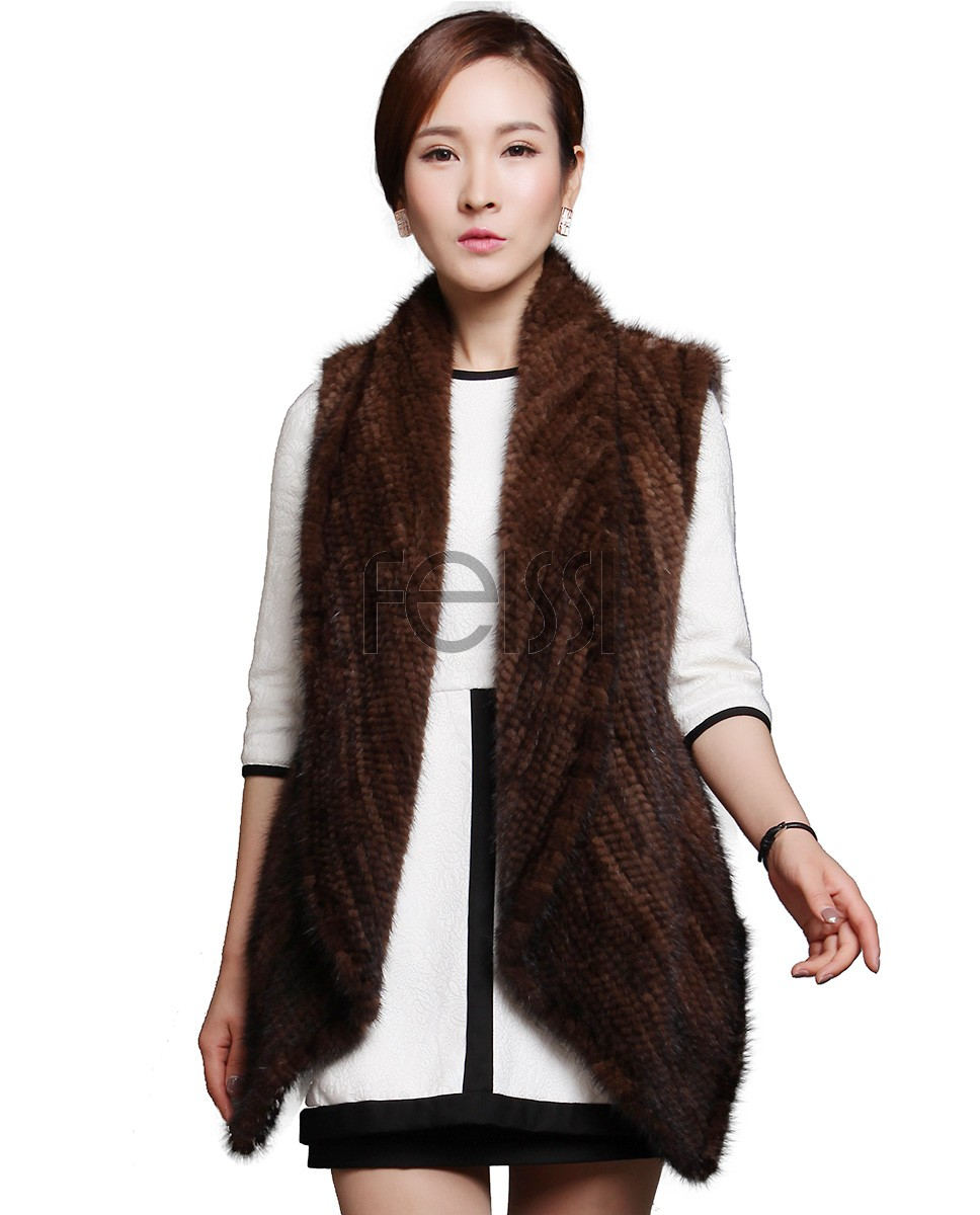 Brown Knitted Mnk Fur Vest 612_1