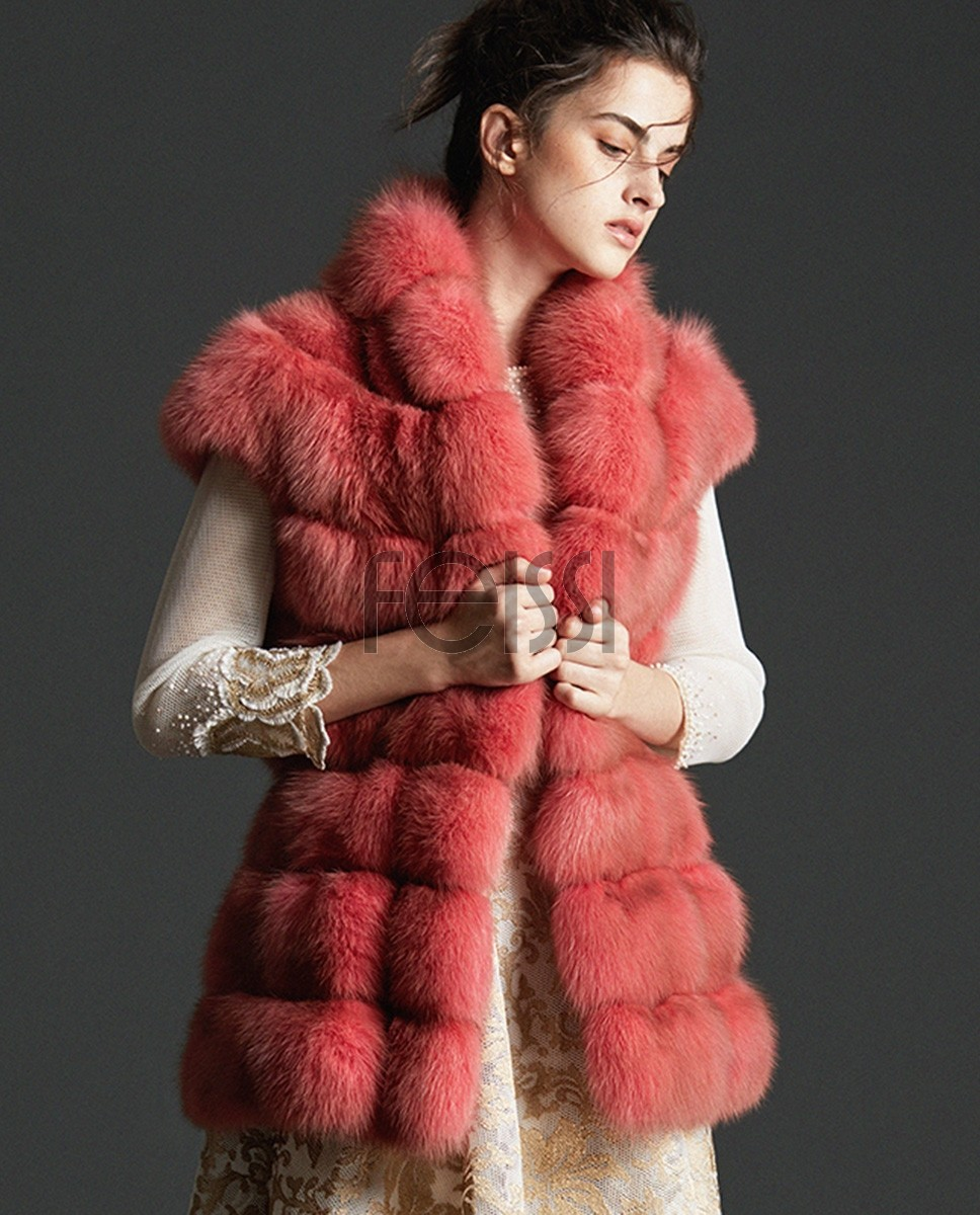 Candy Red Sable Fur Vest 0074a