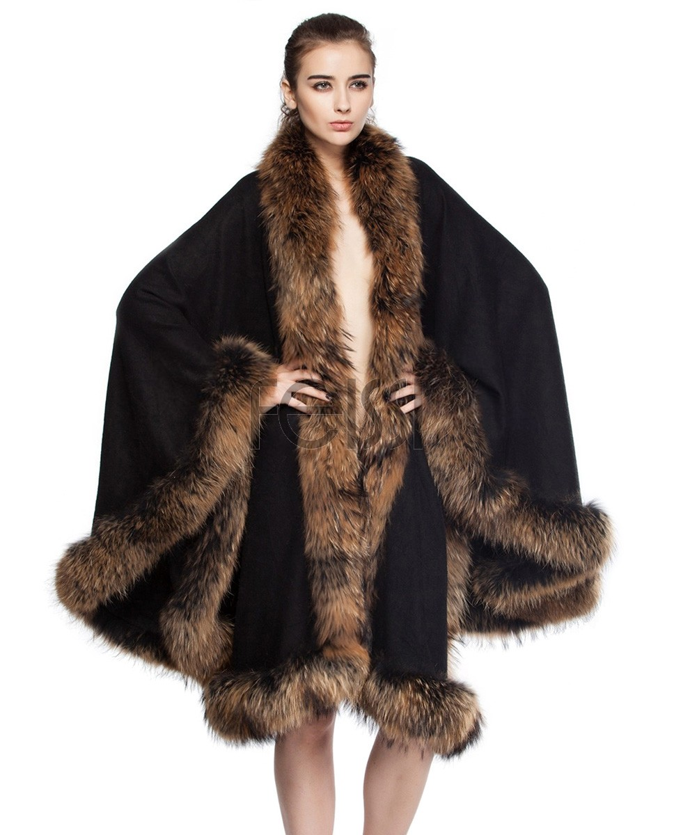 Cashmere Cape with Raccoon Fur Trim Black 665-1