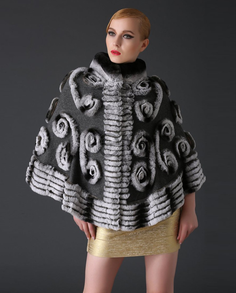 Cashmere Cape with Rex Rabbit Fur Trim 781a