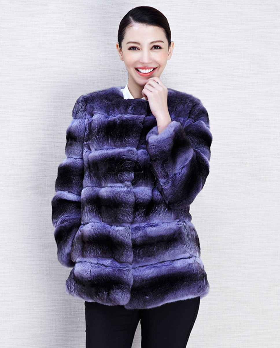 Chinchilla Fur Jacket 572 Blue 1