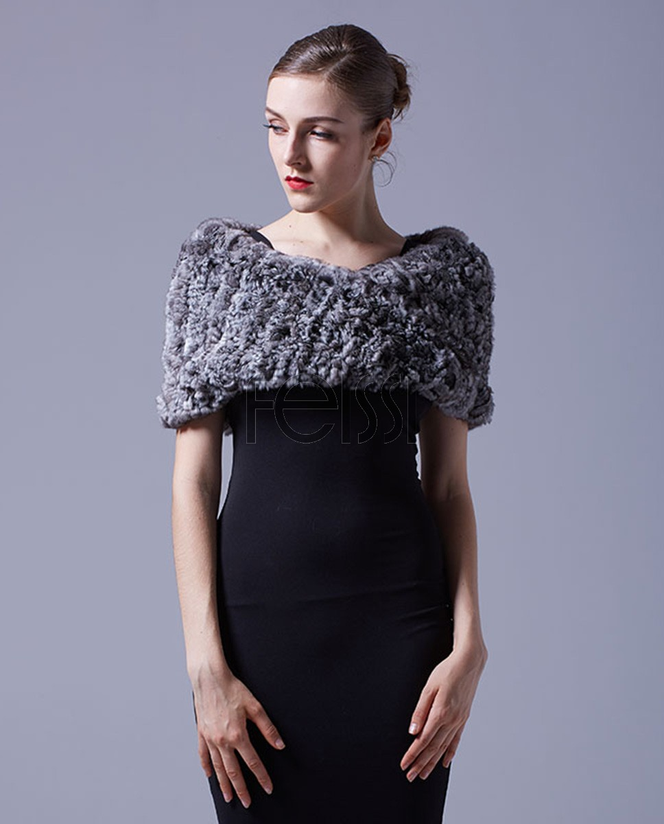 Chinchilla Fur Knitted Capelet 044a