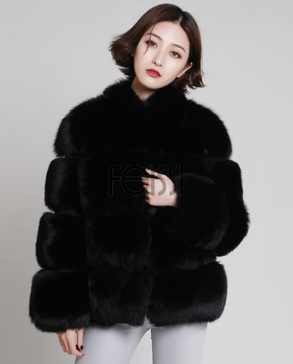 Fox Fur Coat 883 Black 1