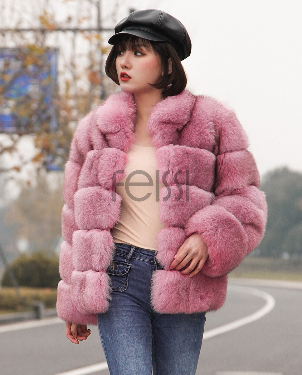 Fox Fur Jacket in Pink 986ba