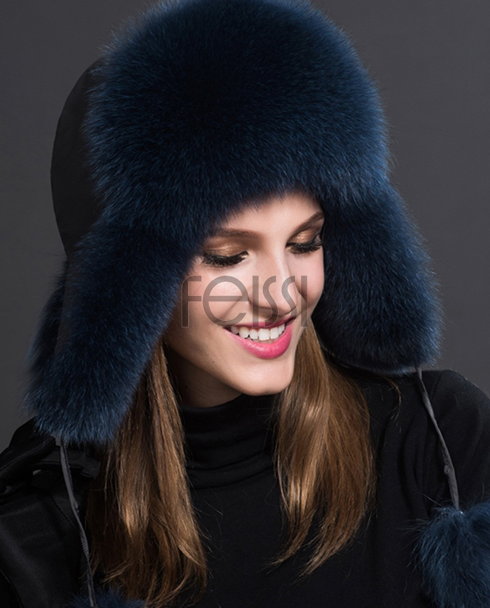 Fox Fur Trapper Hat 859 Denim 1