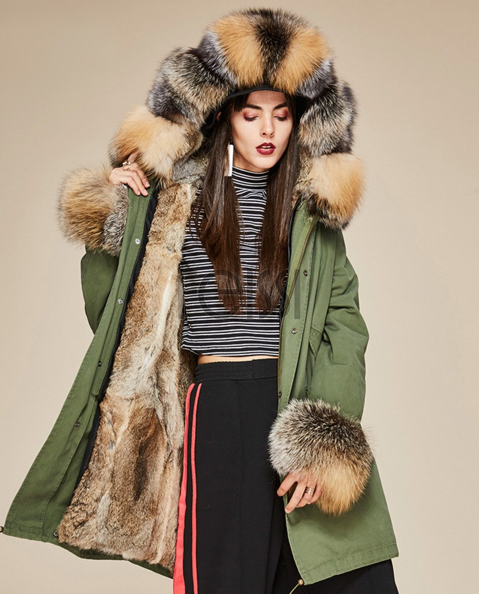 Fox Fur Trimmed Hooded Parka with Detachable Rabbit Fur Liner 130a