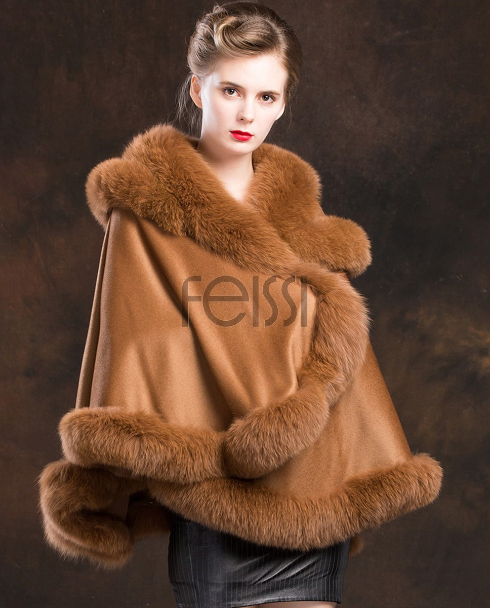 Fox Trimmed Cashmere Cape with Hood 137-Camel-4