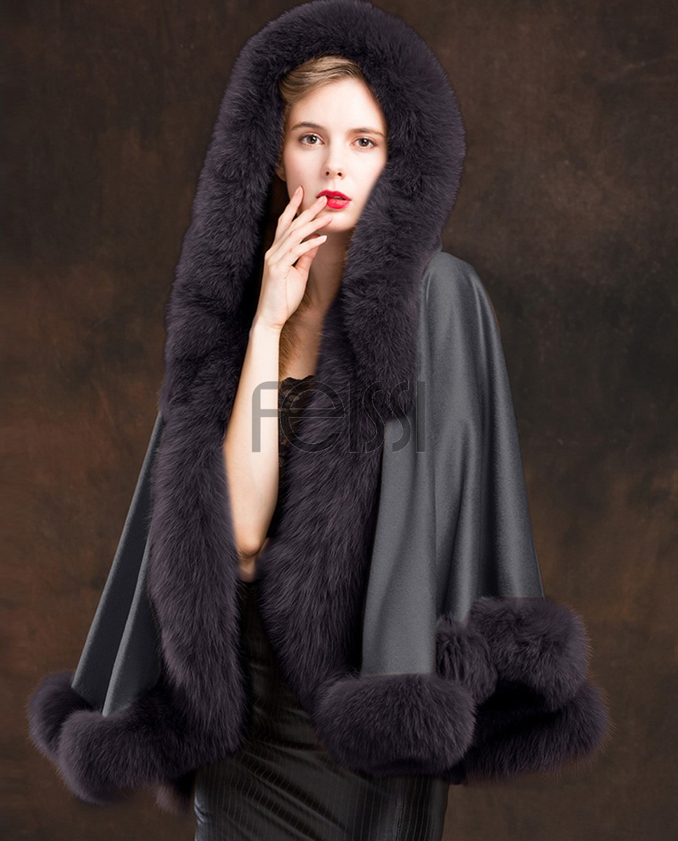 Fox Trimmed Cashmere Cape with Hood 137-Gray-1
