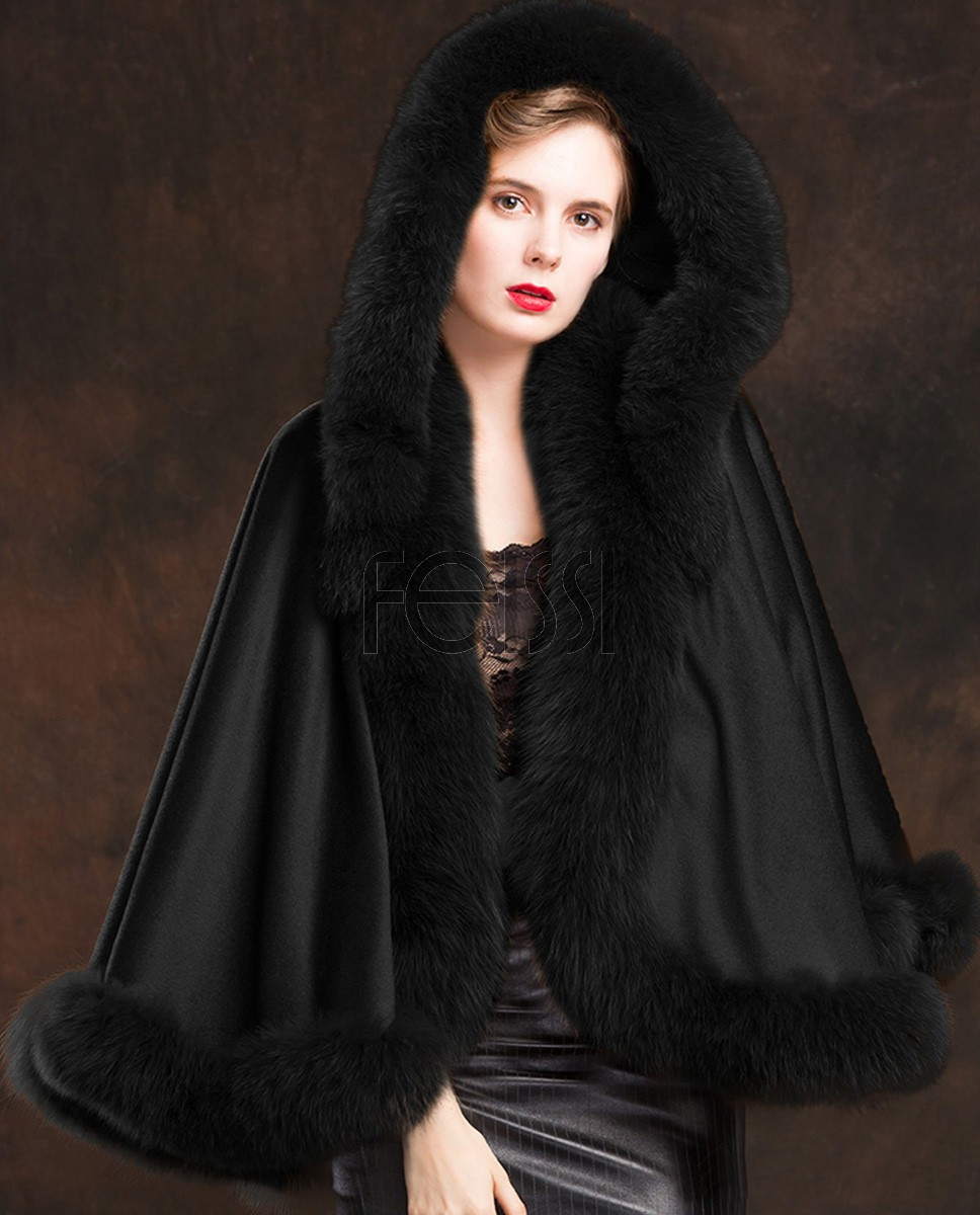 Fox Trimmed Cashmere Cape with Hood 137-Black
