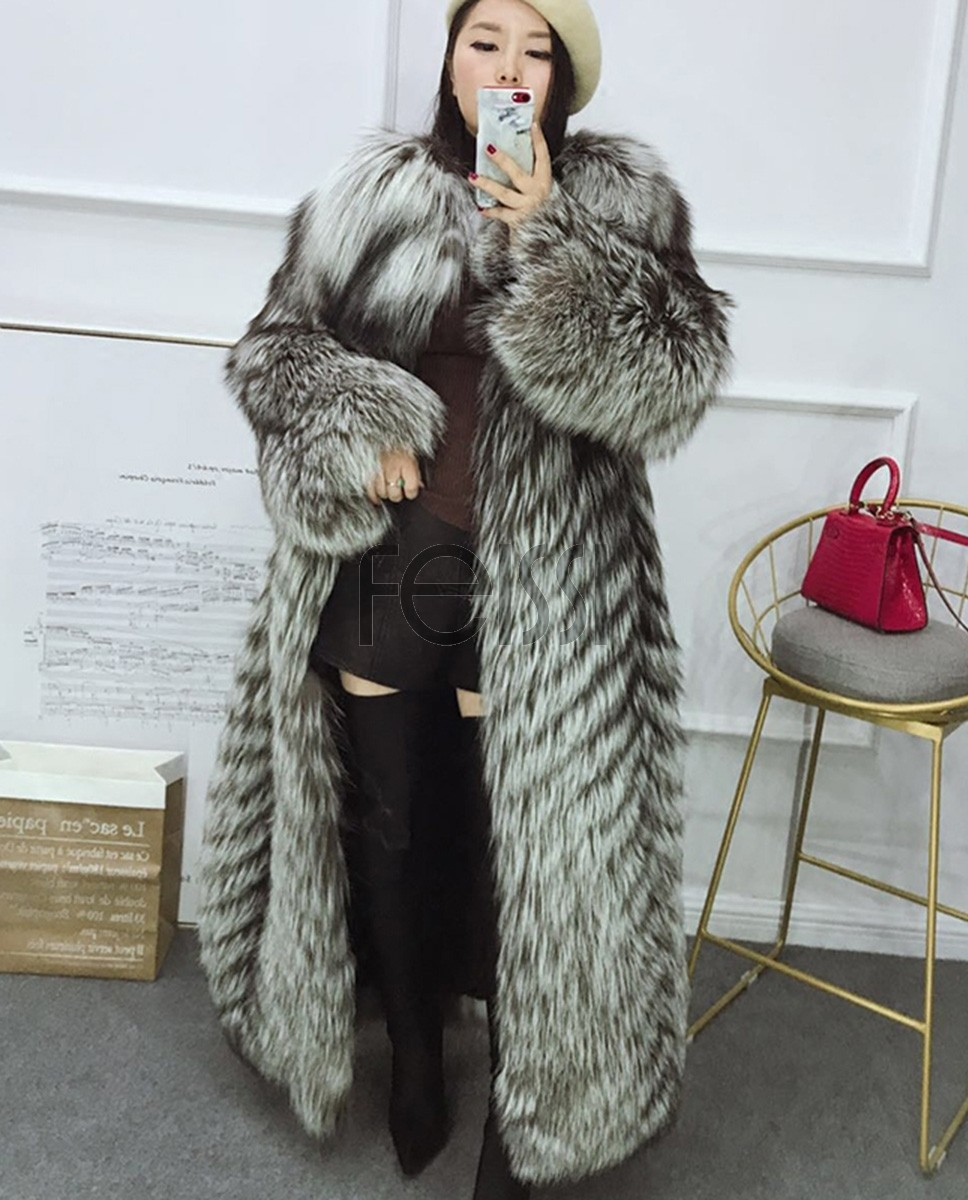 Full length Silver Fox Fur Long Coat 395a