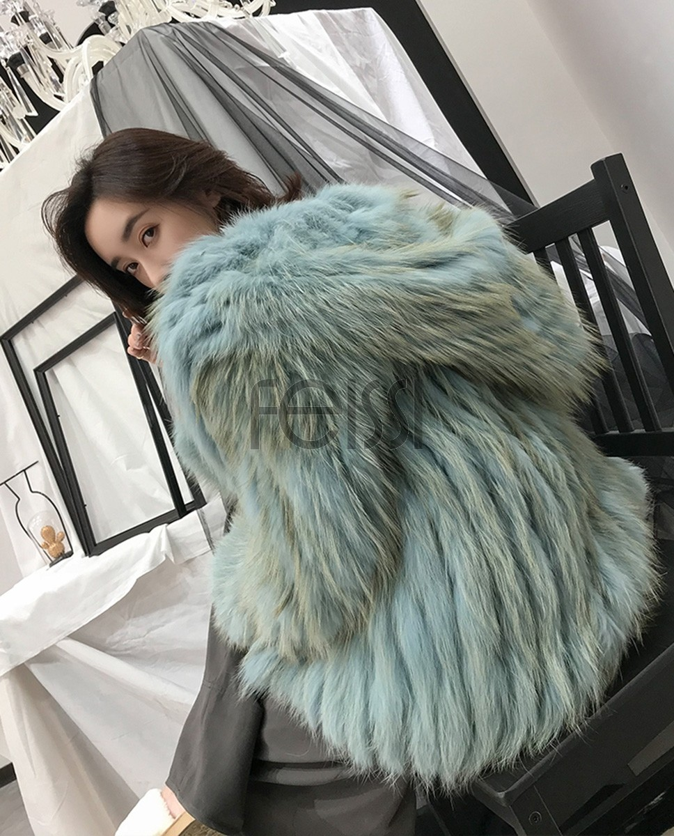 Hooded Fox Fur Coat 319a