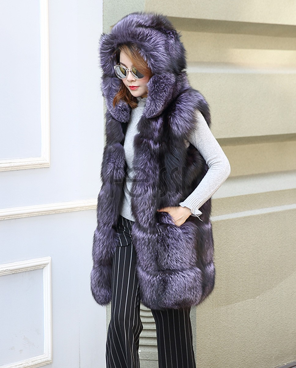 Hooded Fox Fur Vest 994a