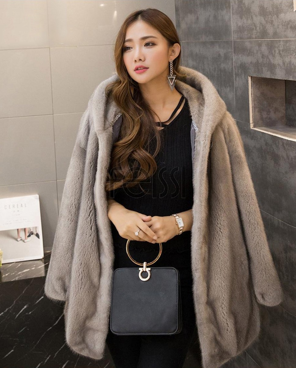 Hooded Mink Fur Coat 751a